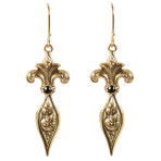 Fleur de Lis Earrings (Gold/Jet)