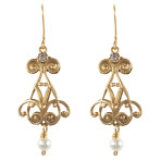 Heartdrop Earrings (Gold/Crystal White Pearl/Clear)