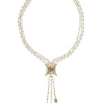 Lasso Necklace (Gold/Crystal White Pearl/Clear)
