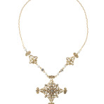 Starburst Necklace (Gold/Crystal White Pearl/Clear)