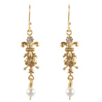 Teardrop Earrings (Gold/Crystal White Pearl/Clear)