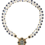 Oval San Benito Magdala Necklace (Gold/Night Blue)