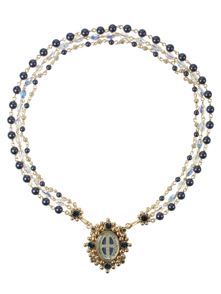 Oval san benito magdala necklace gold night blue for Jewelry stores in slidell louisiana