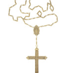 Resurrection Crystal Cross Rosary (Gold/Fuschia)