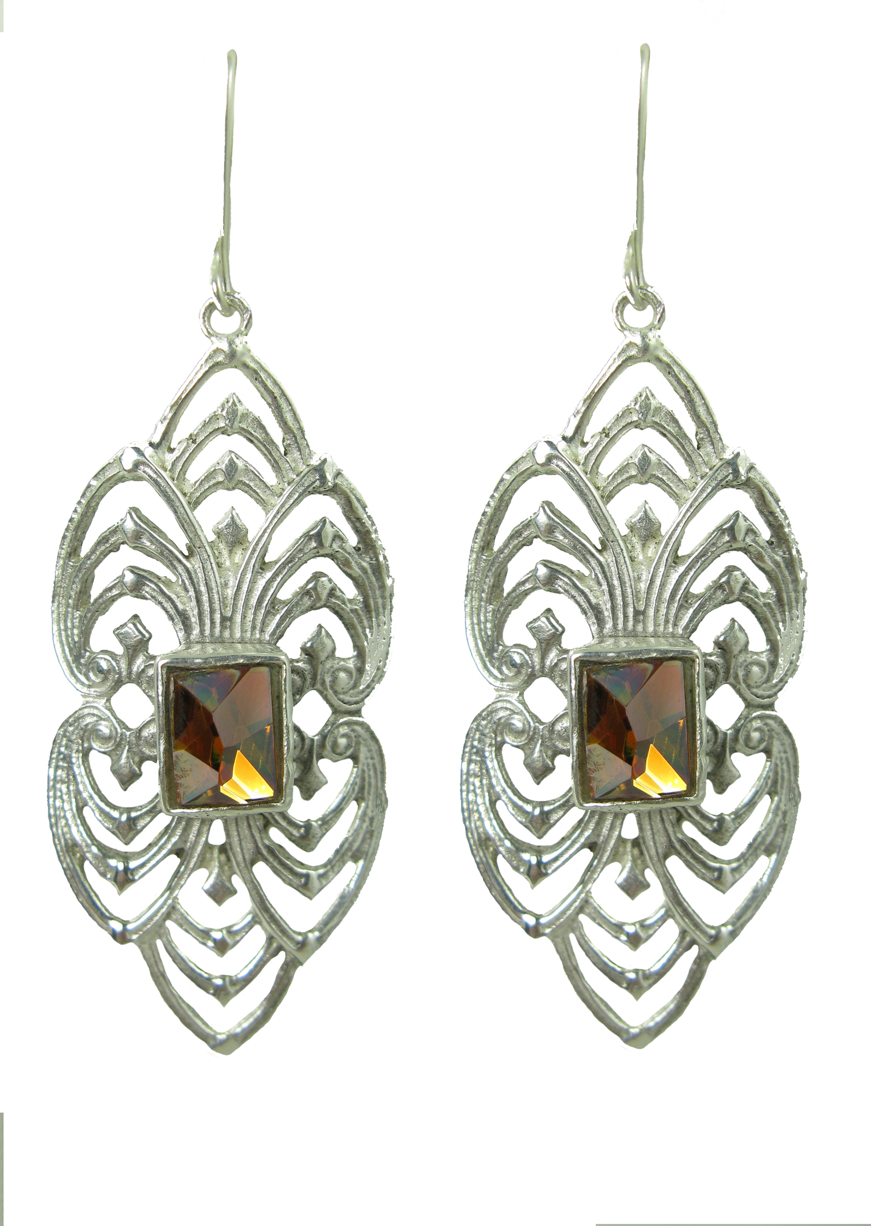 Tribal Diamond Earrings (Silver/Golden Shadow)