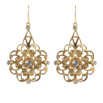 Flower Drop Earrings  (Gold/Clear)